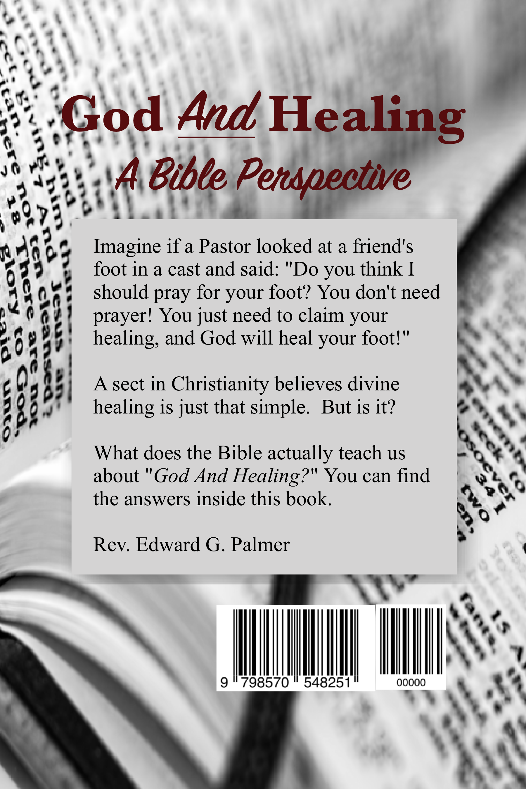 Back cover of God And Heainng: A Bible Perspective
